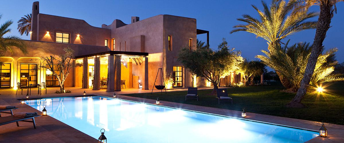 The Villa And Pool Attractively Lit At Night Luxury Rental ...
