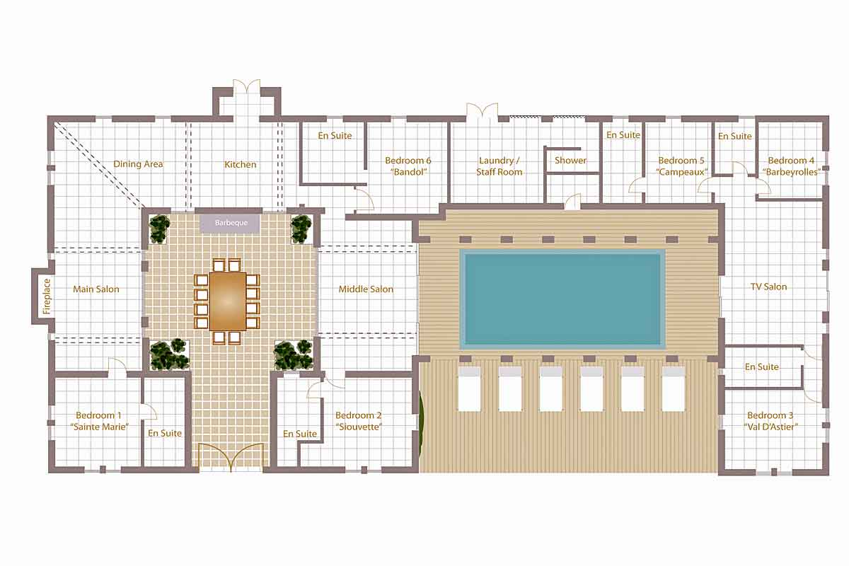 Cote d 39 azur luxury villa to rent with heated pool near st for Villa interior design floor plan