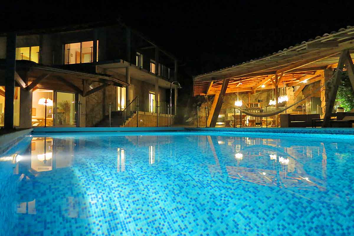 The Pool And Villa Lit Up At Night Large Family Rental In Corsica ...