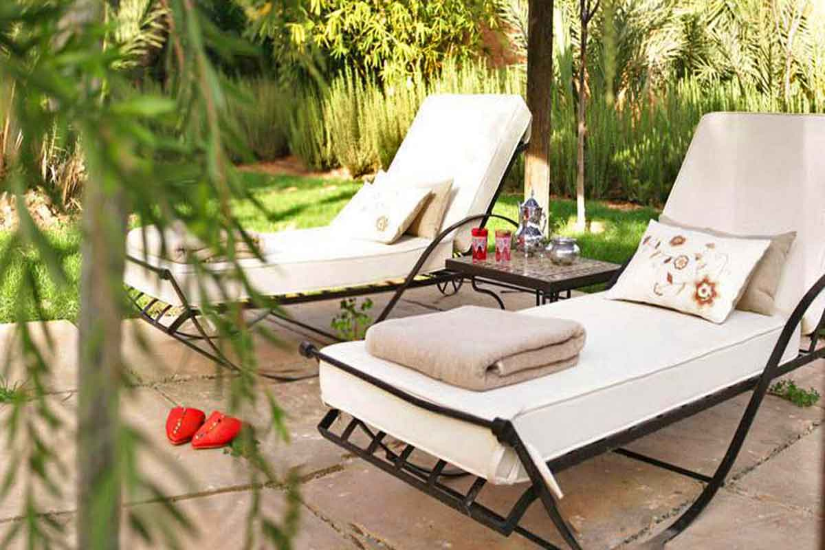 moroccan garden furniture. Sun Loungers By The Pool Moroccan Villa For Rent Garden Furniture